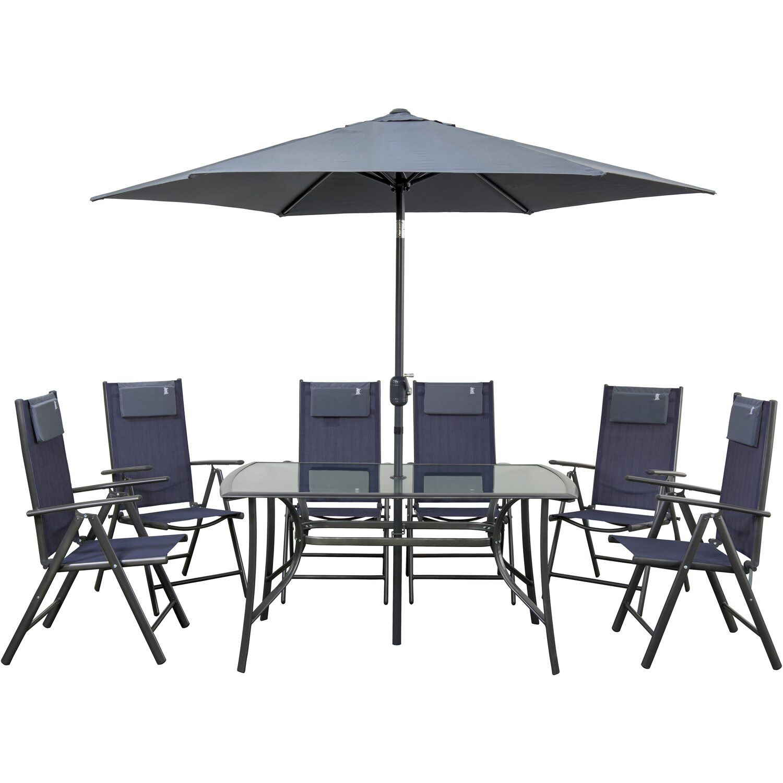 Idea Gartenmöbel-Set Rio Alu/Textil Blau 8-teilig kaufen bei OBI
