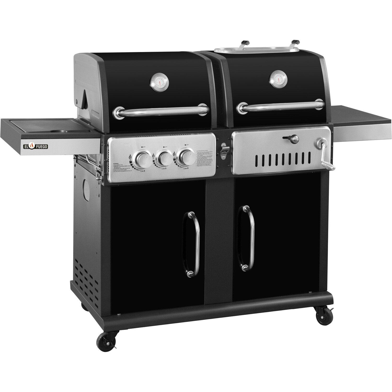 el fuego® kohle-gas kombigrill cheyenne schwarz kaufen bei obi