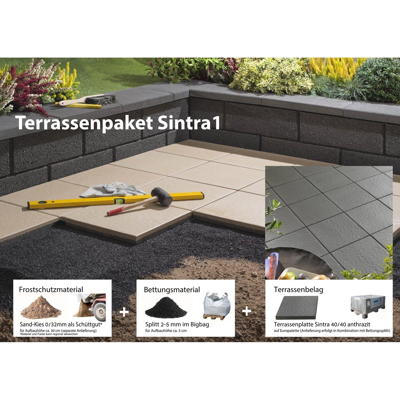 Terrassenplatte Beton Sintra Anthrazit Cm X Cm KomplettPaket - Terrassenplatten 20 mm verlegen