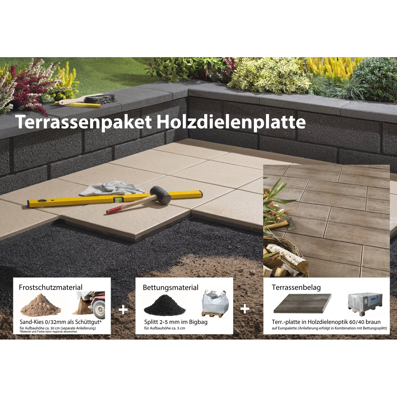 Terrassenplatte Beton Holzdiele Braun 60 Cm X 40 Cm Komplett Paket