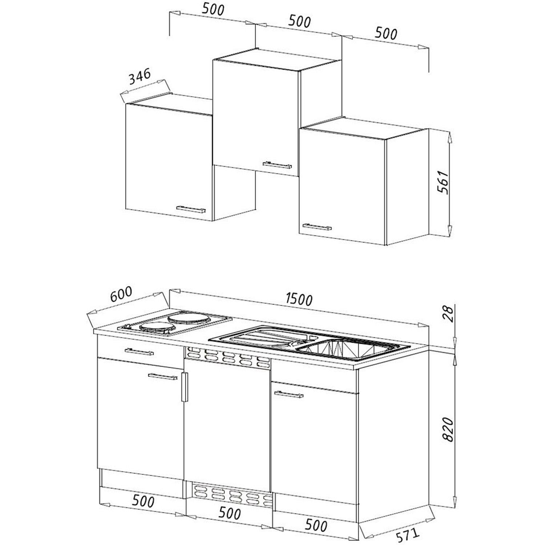 respekta k chenzeile kb150wrmic 150 cm rot wei kaufen bei obi. Black Bedroom Furniture Sets. Home Design Ideas