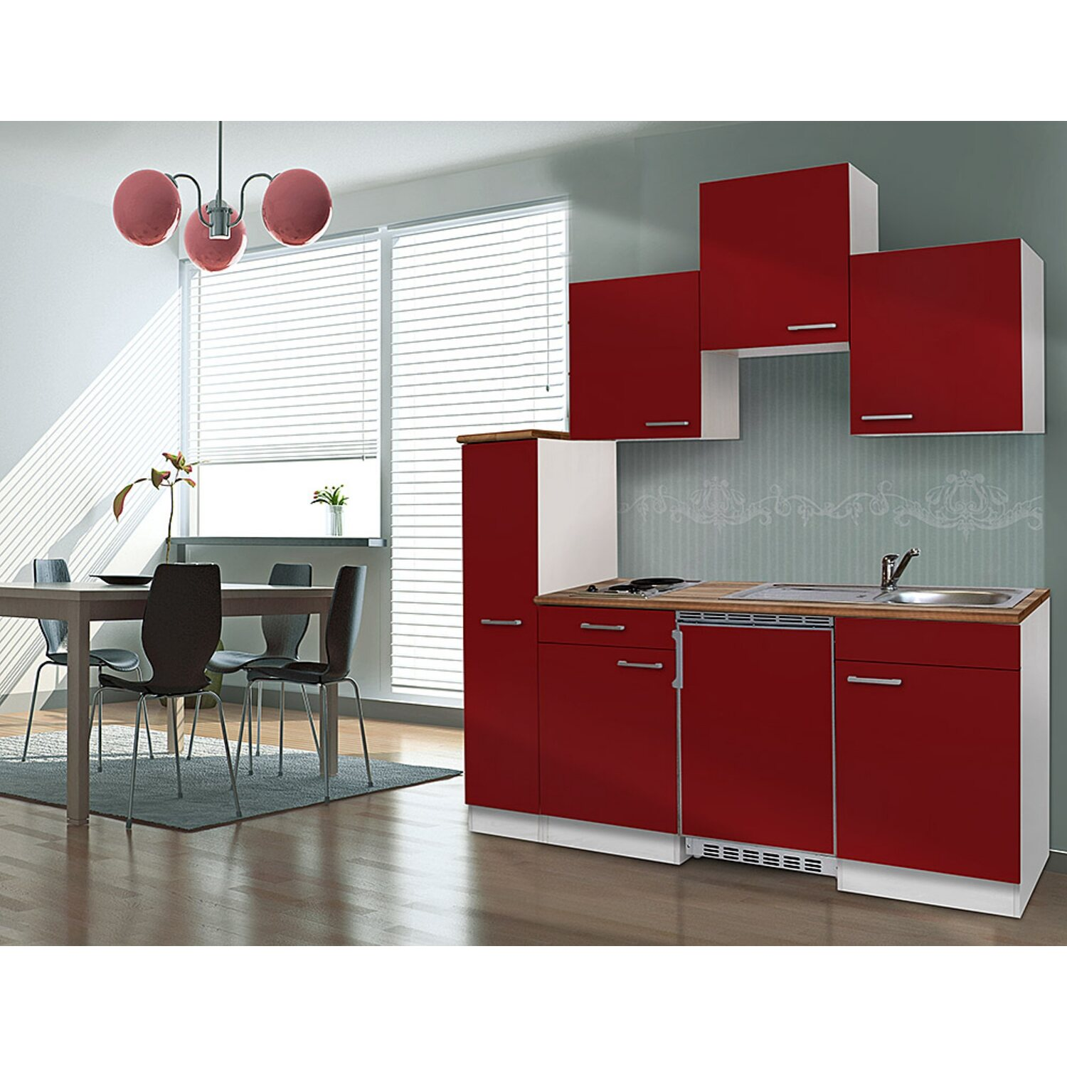 respekta k chenzeile kb180wr 180 cm rot wei kaufen bei obi. Black Bedroom Furniture Sets. Home Design Ideas
