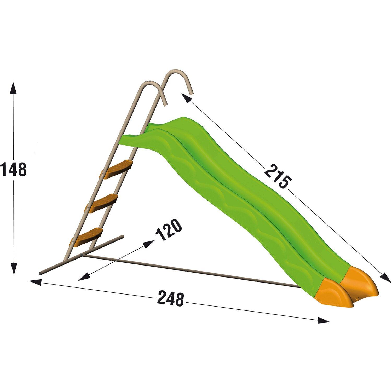 Trigano rutsche 215 cm grau gr n mit leiter kaufen bei obi for Poolleiter obi