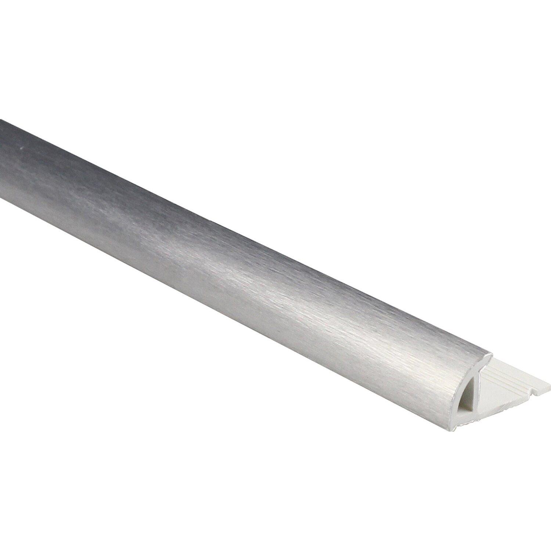 Viertelkreis Abschlussprofil PVC foliert Silber gebürstet 8 mm x 8,8 m