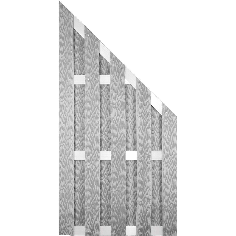 T J Wpc Sichtschutzzaun Dalian Ecke Alu Grau Geburstet 90 X 180