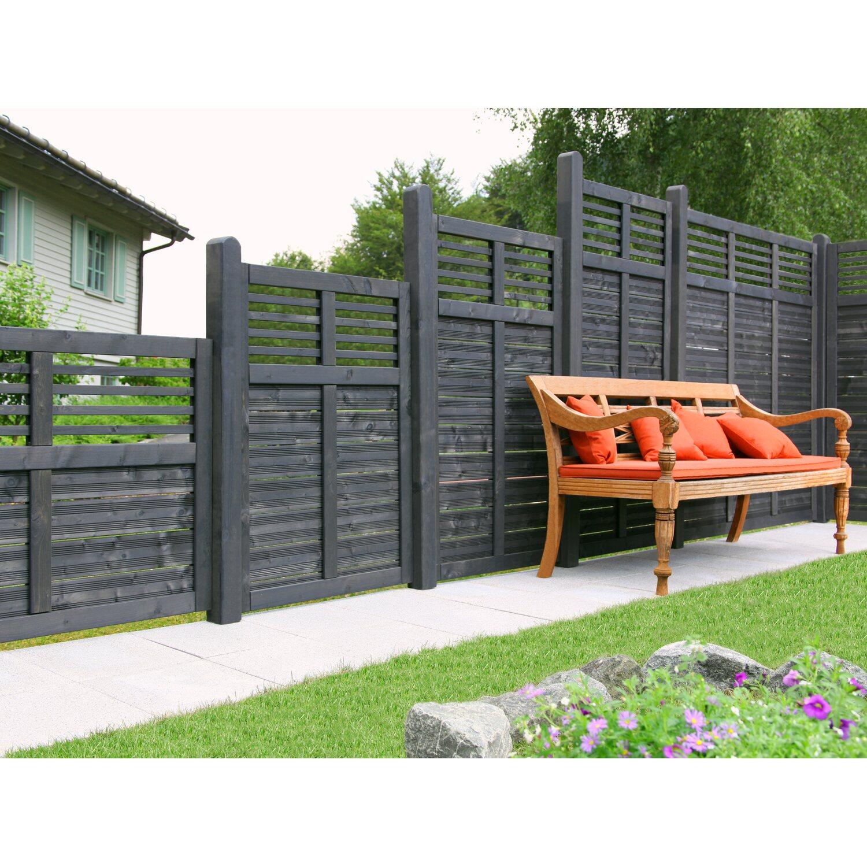 sichtschutzzaun element limone mit gitter anthrazit 90 cm x 150 cm kaufen bei obi. Black Bedroom Furniture Sets. Home Design Ideas