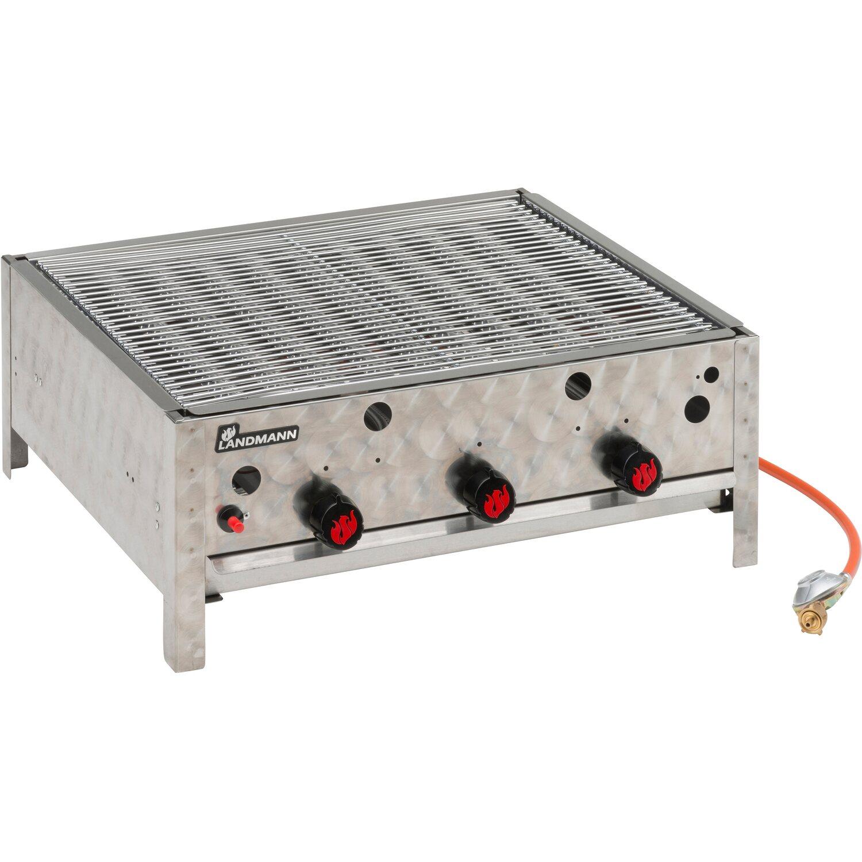 Grillchef Edelstahl Gasbräter Gastrobräter mit Stahlpfanne 3-flammig 3 x 4 kW