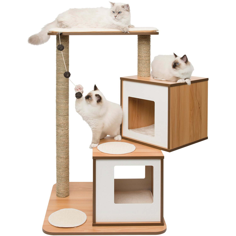 Katzenmöbel vesper katzenmöbel walnut zwei kubus höhlen mit einer