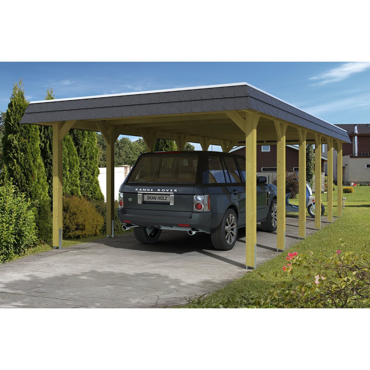 skan holz walmdach carport spreewald 396 cm x 893 cm blende in schwarz kaufen bei obi. Black Bedroom Furniture Sets. Home Design Ideas