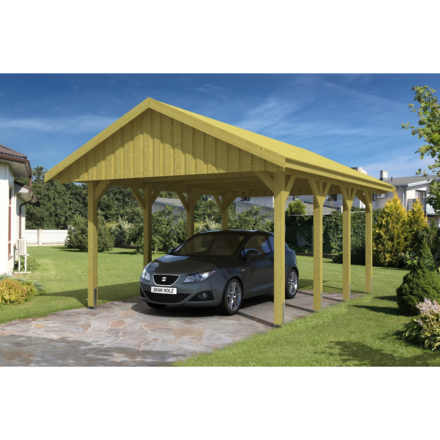 skan holz satteldach carport sauerland 430 cm x 600 cm dachschalung kaufen bei obi. Black Bedroom Furniture Sets. Home Design Ideas