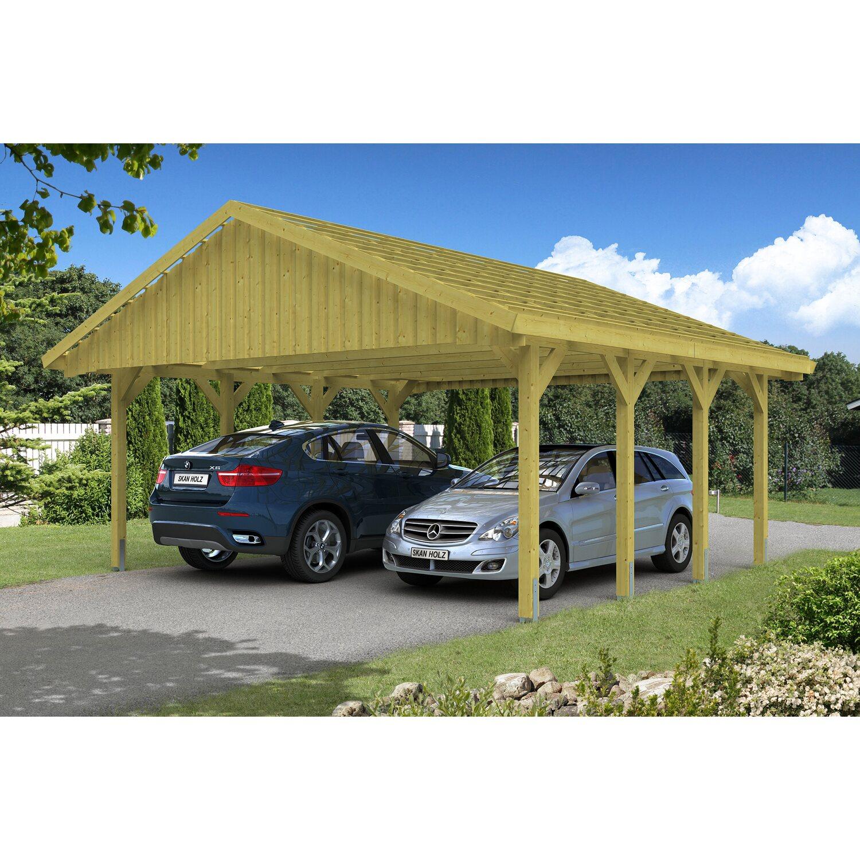 Skan Holz Satteldach-Doppelcarport Sauerland 620 cm x 600 cm mit Dachlattung Preisvergleich