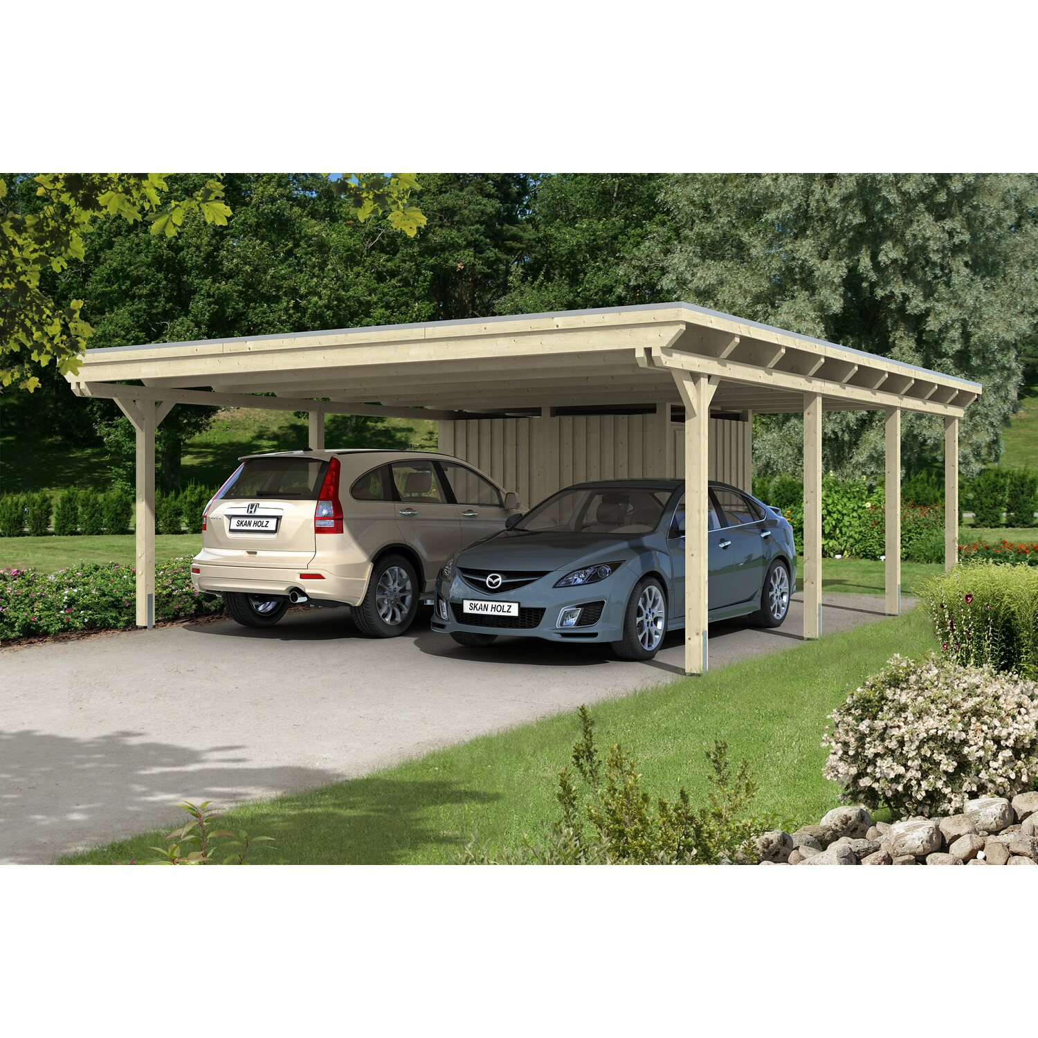 skan holz flachdach doppelcarport emsland 613 cm x 846 cm mit abstellraum kaufen bei obi. Black Bedroom Furniture Sets. Home Design Ideas