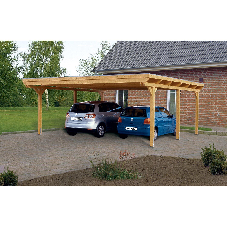 Skan Holz Flachdach-Doppelcarport Emsland 613 cm x 604 cm