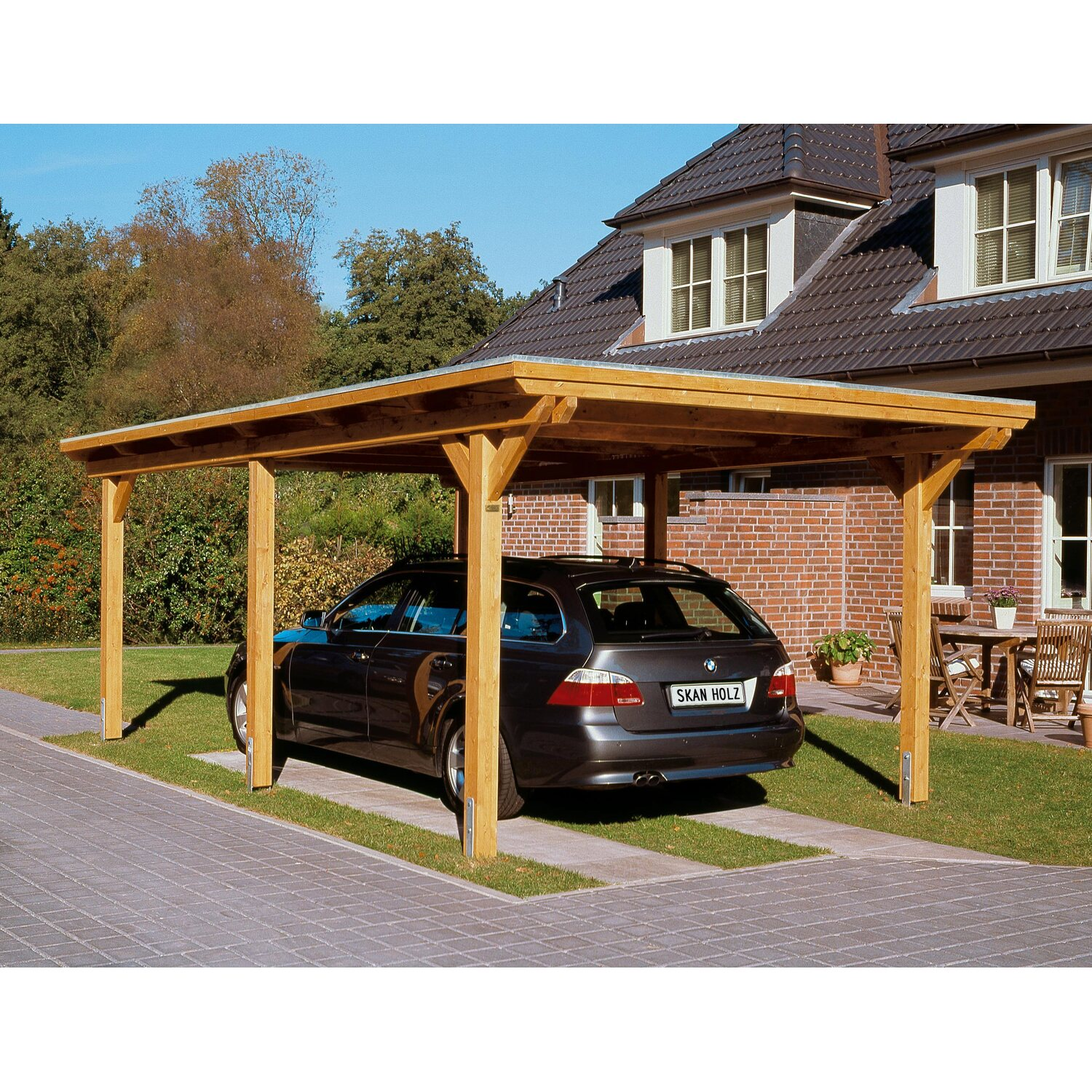 skan holz flachdach einzelcarport emsland 354 cm x 604 cm kaufen bei obi. Black Bedroom Furniture Sets. Home Design Ideas
