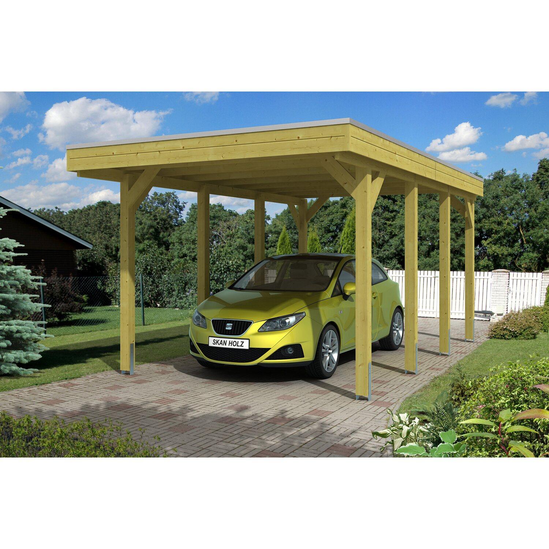 Skan Holz Flachdach Einzelcarport Friesland 314 Cm X 555 Cm