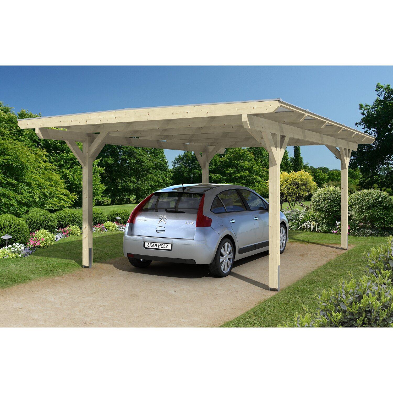 Skan Holz Flachdach-Einzelcarport Odenwald 428 cm x 648 cm gerade Kopfbänder   Baumarkt > Garagen und Carports > Carports   Skan Holz