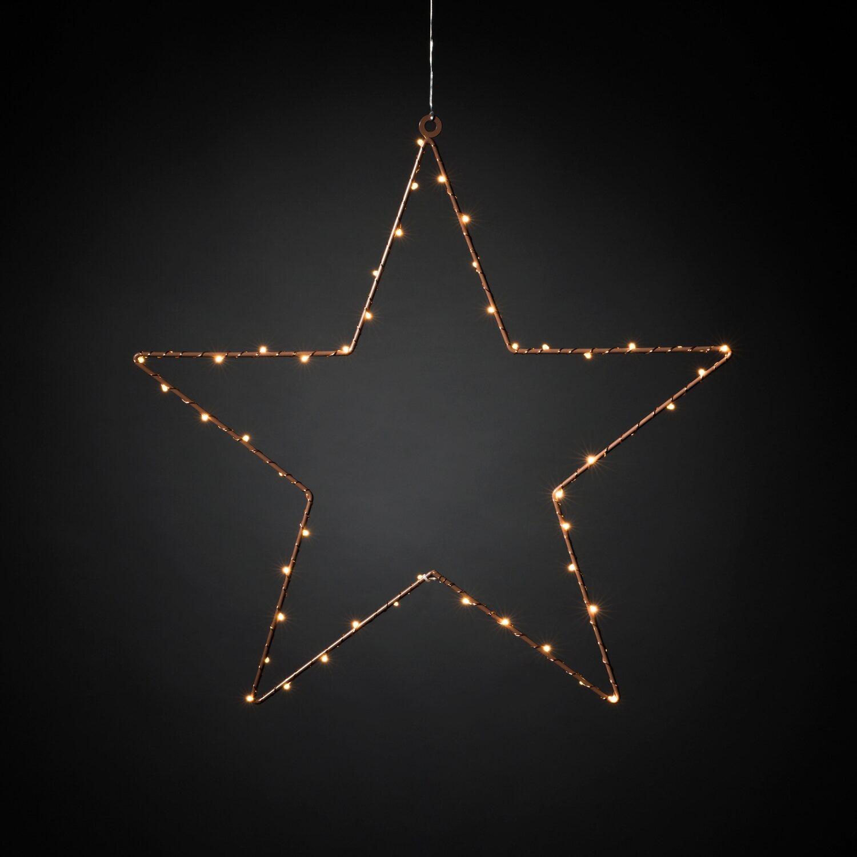 Fensterbeleuchtung Weihnachten Led.Led Metallstern Kupferfarben Lackiert Bernstein