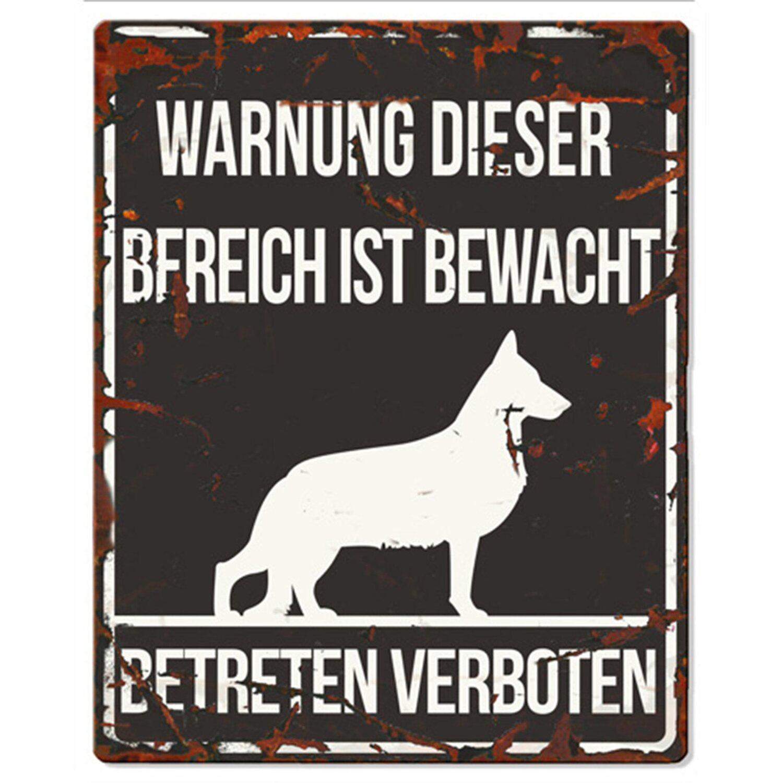 Warnschild deutscher Schäferhund Schwarz 20 cm ...