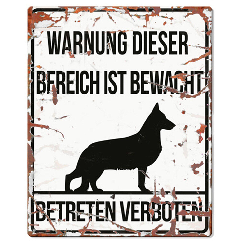Warnschild deutscher Schäferhund Weiß 20 cm x 25 cm | Dekoration > Bilder und Rahmen > Poster