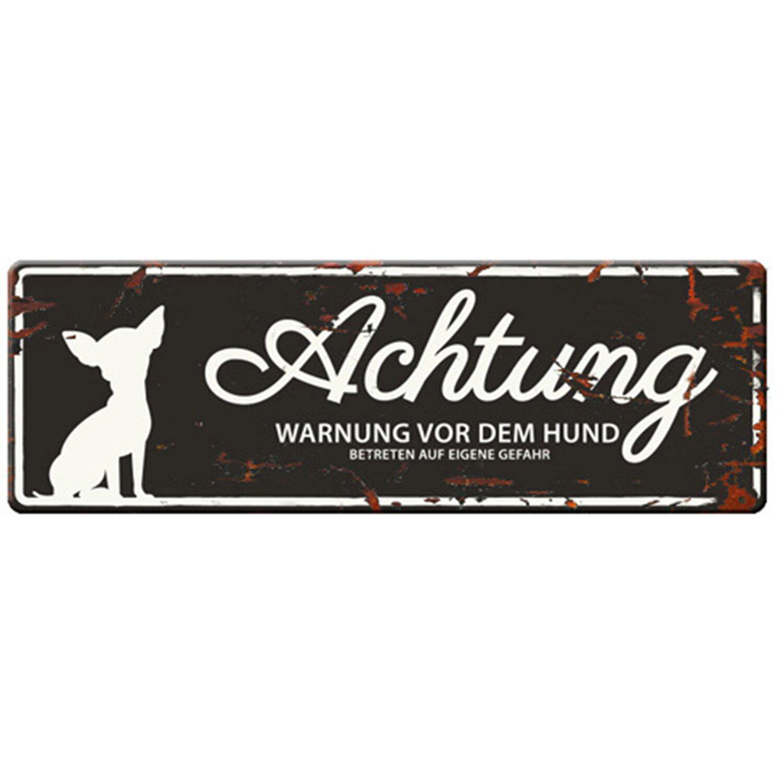Warnschild Mini Chihuahua Schwarz 12 cm x 4 cm