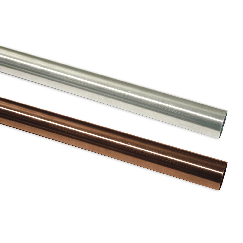 Gardinenstange Stahlrohr Edelstahl-Optik 300 cm 20 mm Ø
