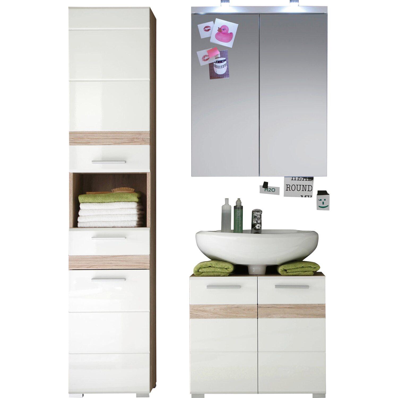 Badmöbel Set Set One Weiß Eiche 3 Teilig 110 Cm Mit Spiegelschrank
