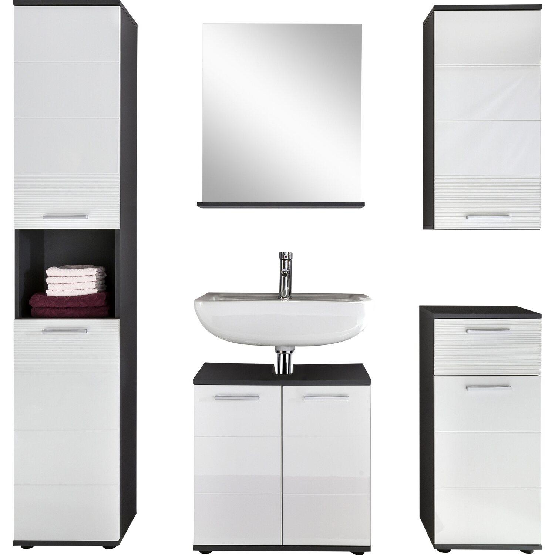 Badmöbel-Set Smart Weiß-Grau 5-teilig 162 cm kaufen bei OBI