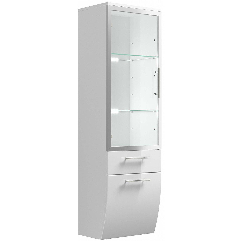 Posseik Hochschrank 40 cm Salona Weiß mit Glasböden