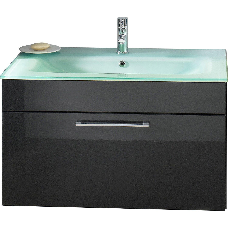 Posseik Waschplatz Heron Anthrazit mit Glasbecken Aquamarin