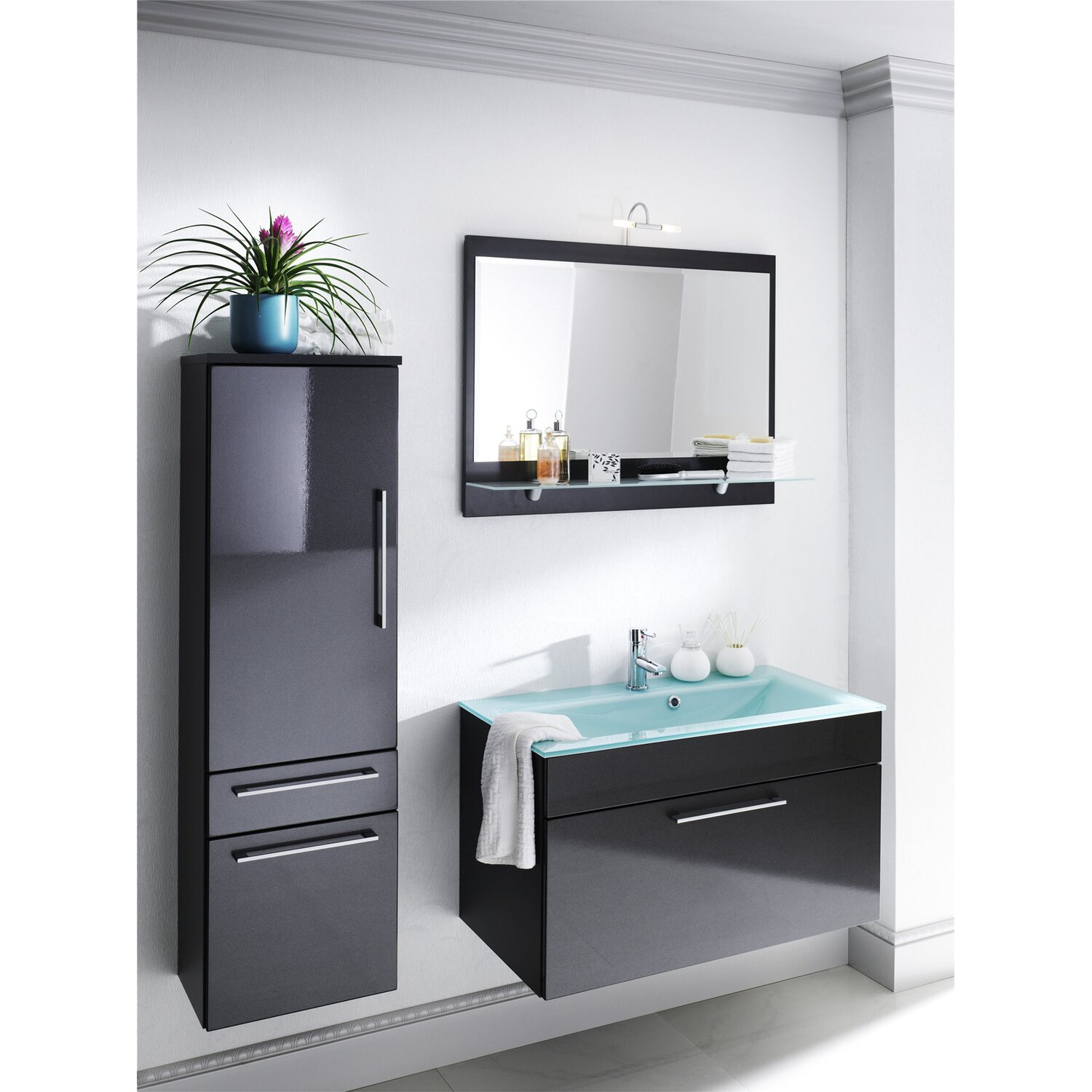 posseik waschplatz 90 cm heron anthrazit mit glasbecken. Black Bedroom Furniture Sets. Home Design Ideas