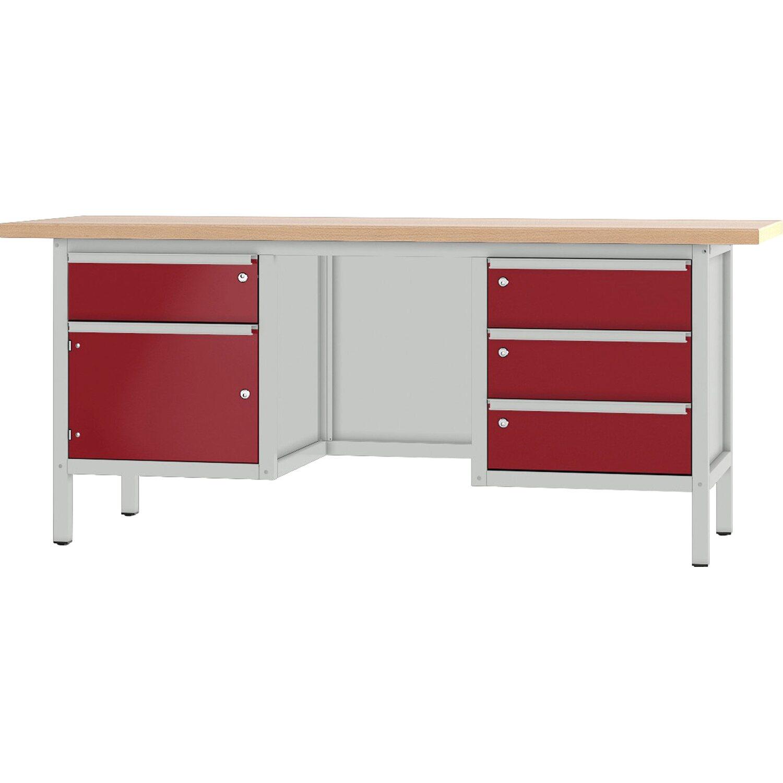 pador werkbank baureihe 3 4 schubladen 1 t r 200 cm lichtgrau rubinrot kaufen bei obi. Black Bedroom Furniture Sets. Home Design Ideas