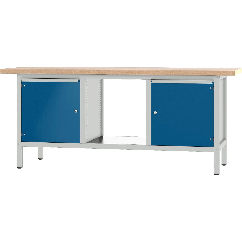 pador werkbank baureihe 3 2 t ren 200 cm lichtgrau enzianblau kaufen bei obi. Black Bedroom Furniture Sets. Home Design Ideas