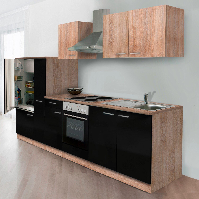 respekta k chenzeile kb300essoes 300 cm schwarz eiche s gerau nachbildung kaufen bei obi. Black Bedroom Furniture Sets. Home Design Ideas