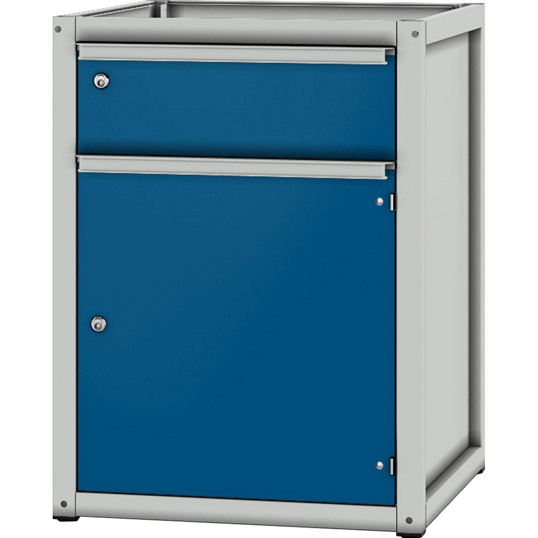 pador sockelschrank 1 schublade 1 t r lichtgrau enzianblau kaufen bei obi. Black Bedroom Furniture Sets. Home Design Ideas