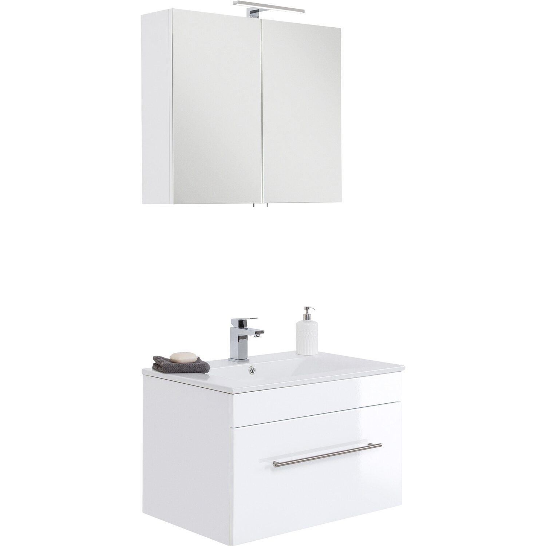 Waschtisch Waschplatz Waschbecken Set hochglanz Weiß 2 teilig