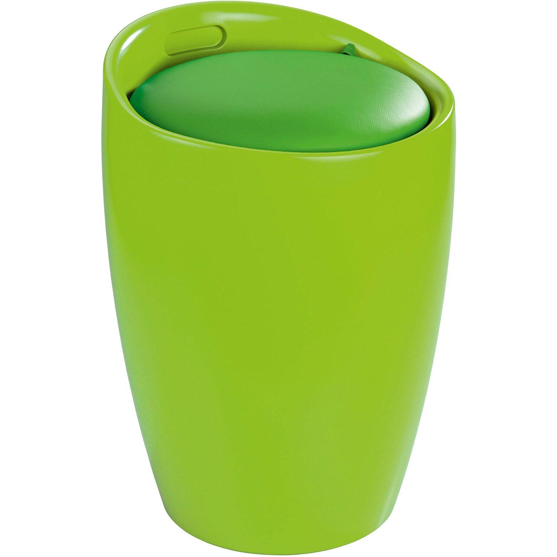 Wenko Badhocker mit abnehmbarem Wäschesack Grün