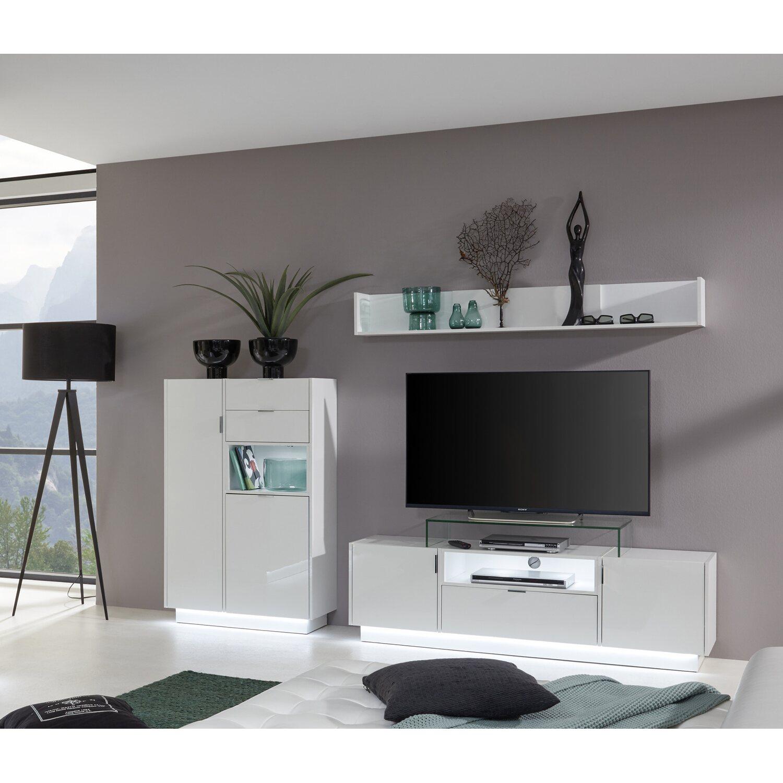 Anbauwand Atlanta Weiß Hochglanz 252 x 163 x 40 cm kaufen bei OBI