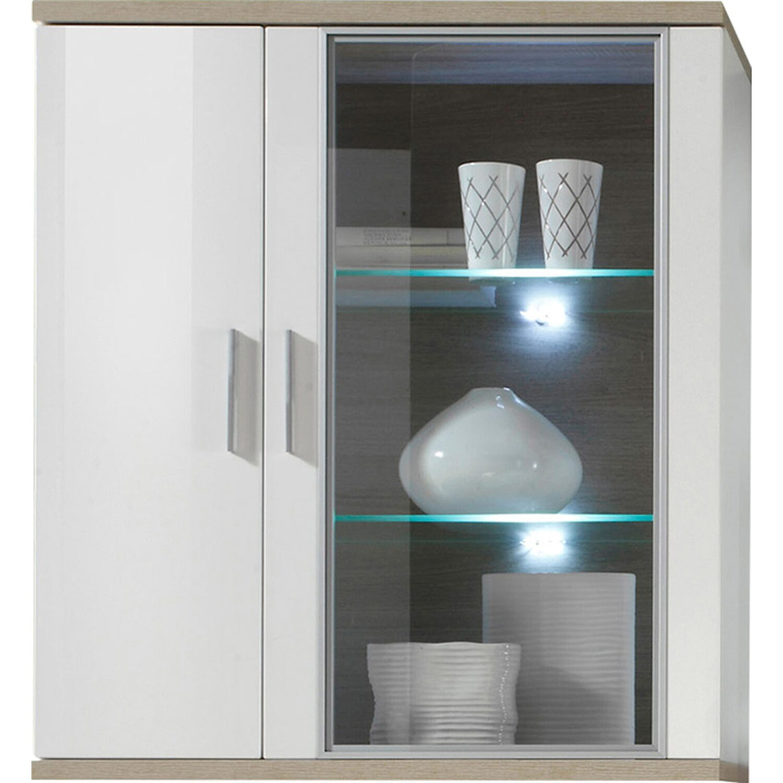 h ngevitrine arena wei hochglanz eiche s gerau 90 x 102 x. Black Bedroom Furniture Sets. Home Design Ideas