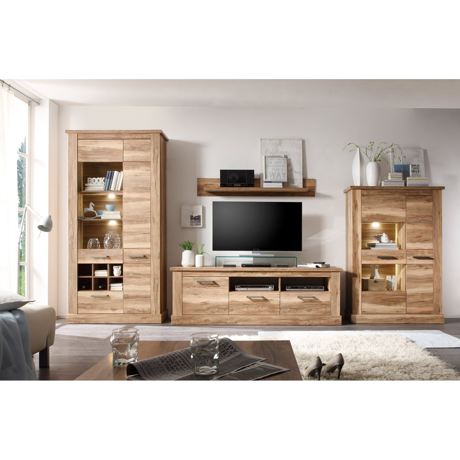 tv lowboard montreal nussbaum satin nachbildung 186 x 61 x 52 cm kaufen bei obi. Black Bedroom Furniture Sets. Home Design Ideas