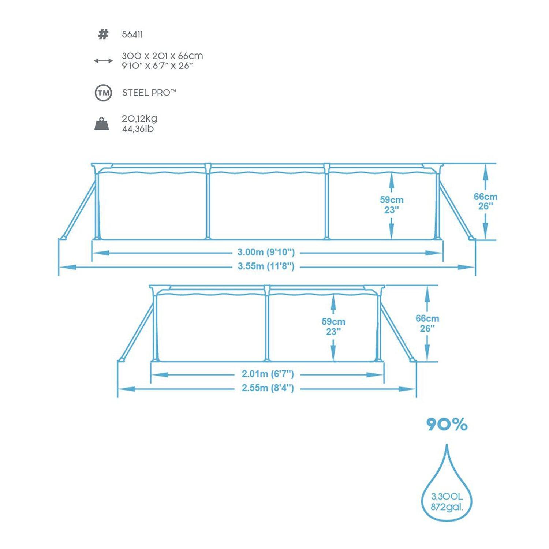 Bestway stahlrahmen pool pro set 300 cm x 201 cm x 66 cm for Obi frame pool