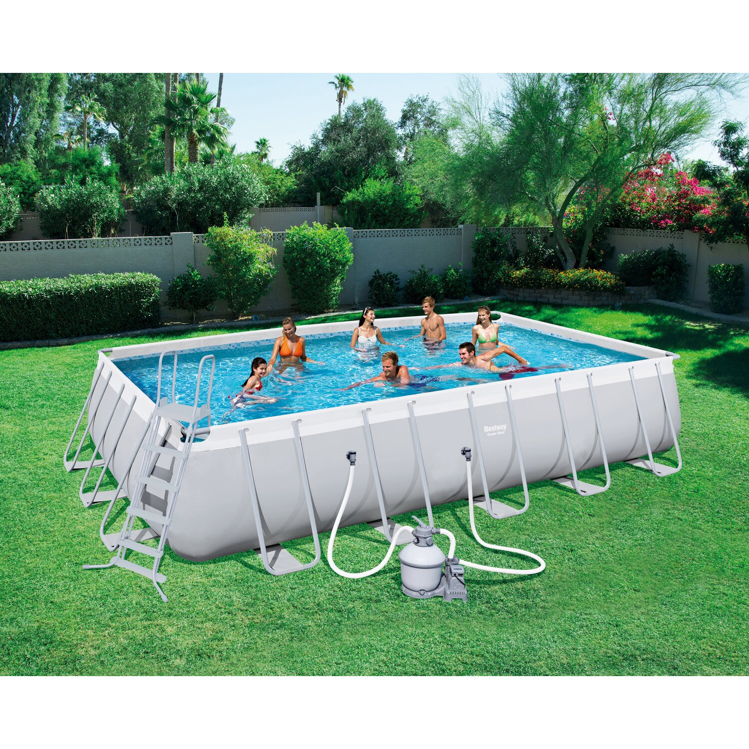 Bestway power stahl rectangular pool set 671 cm x 366 cm x for Bestway pool obi