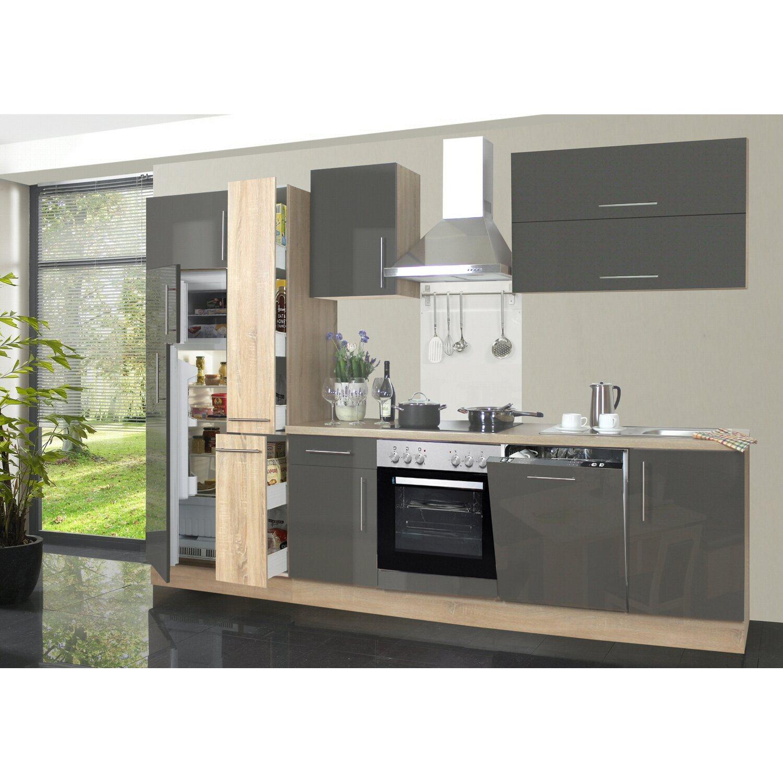 Menke Küchenzeile Jana 310 cm Lava Hochglanz-Sonoma Eiche Nachbildung