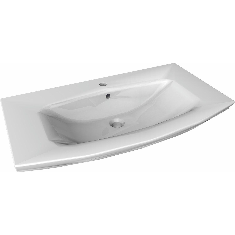 Fackelmann Waschbecken 90 cm Lino Weiß Keramik kaufen bei OBI