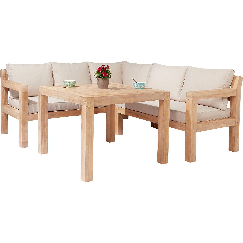Lounge Set Mit Esstisch Morenci 4 Teilig Aus Akazienholz Fsc