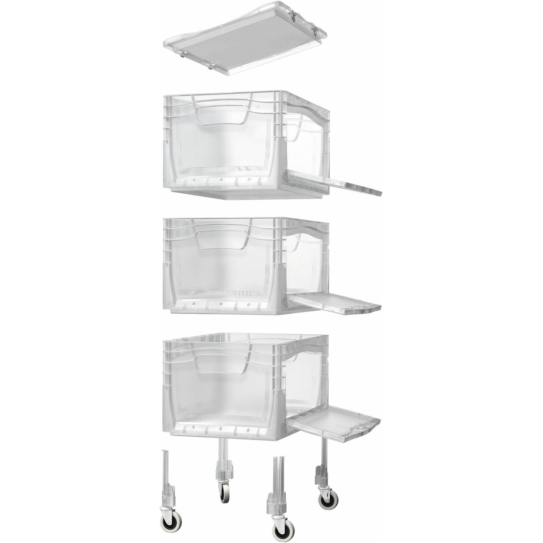 Obi Eurobox System Tauro Flap Box Tower Inkl Rollen 3 Boxen 40x30