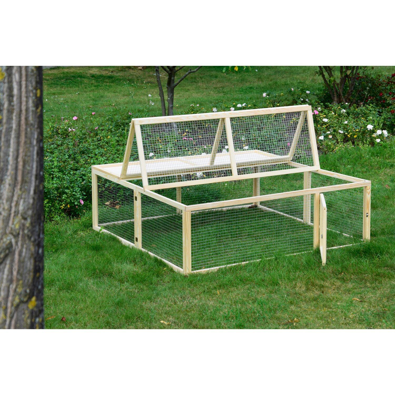 4 Eckiges Freilaufgehege Aus Holz Aufklappbar 150 X 150 X 50 Cm