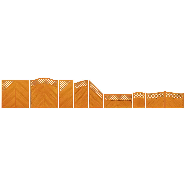 Sichtschutzzaun element brest tor pinienfarben 120 135 cm for Obi gartendekor pinie