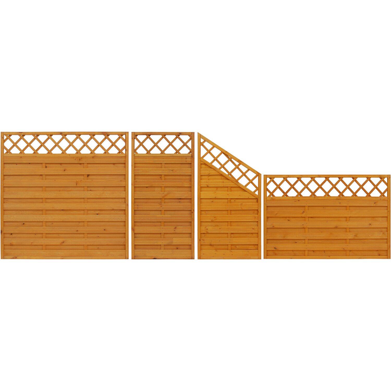 sichtschutzzaun anschlusselement country pinienfarben 180 x 120 cm auf 90 cm kaufen bei obi. Black Bedroom Furniture Sets. Home Design Ideas