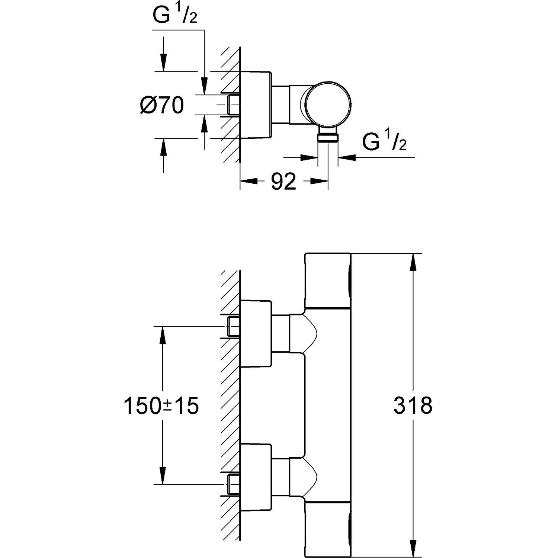 Gut bekannt Grohe Grohtherm 3000 C Thermostat-Brausebatterie DN 15 kaufen bei OBI CX81
