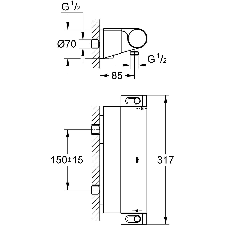 Bekannt Grohe Grohtherm 2000 Thermostat-Brausebatterie DN 15 m. Wasserspar OL37
